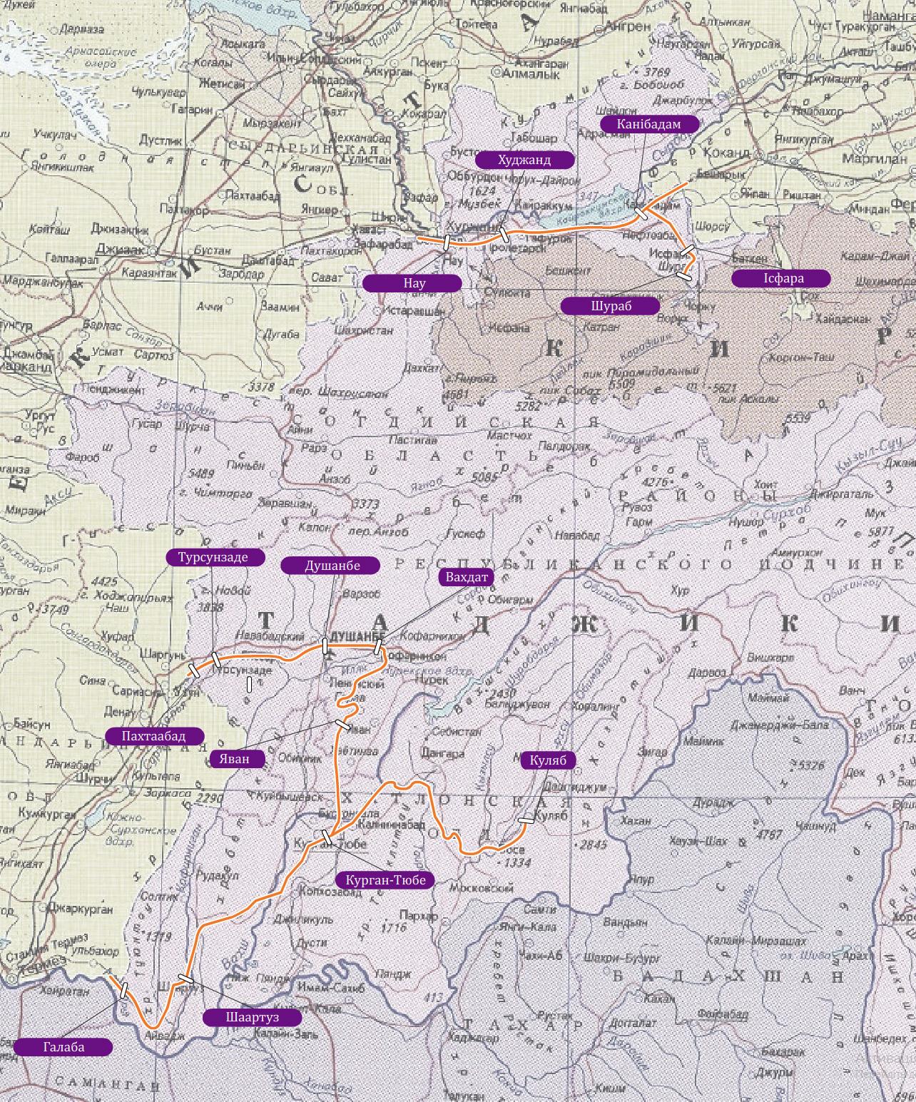 Схема залізниць Таджикістану. Таджикістан