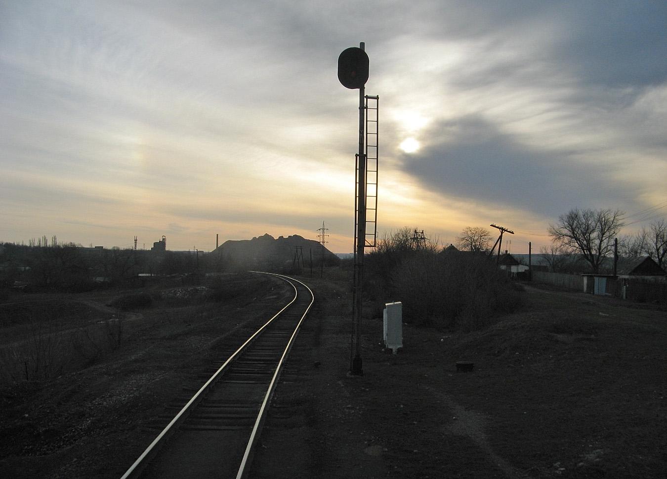 Роз'їзд Скіповий, вид в сторону станції Браунівка. Луганська область, Антрацитівський район