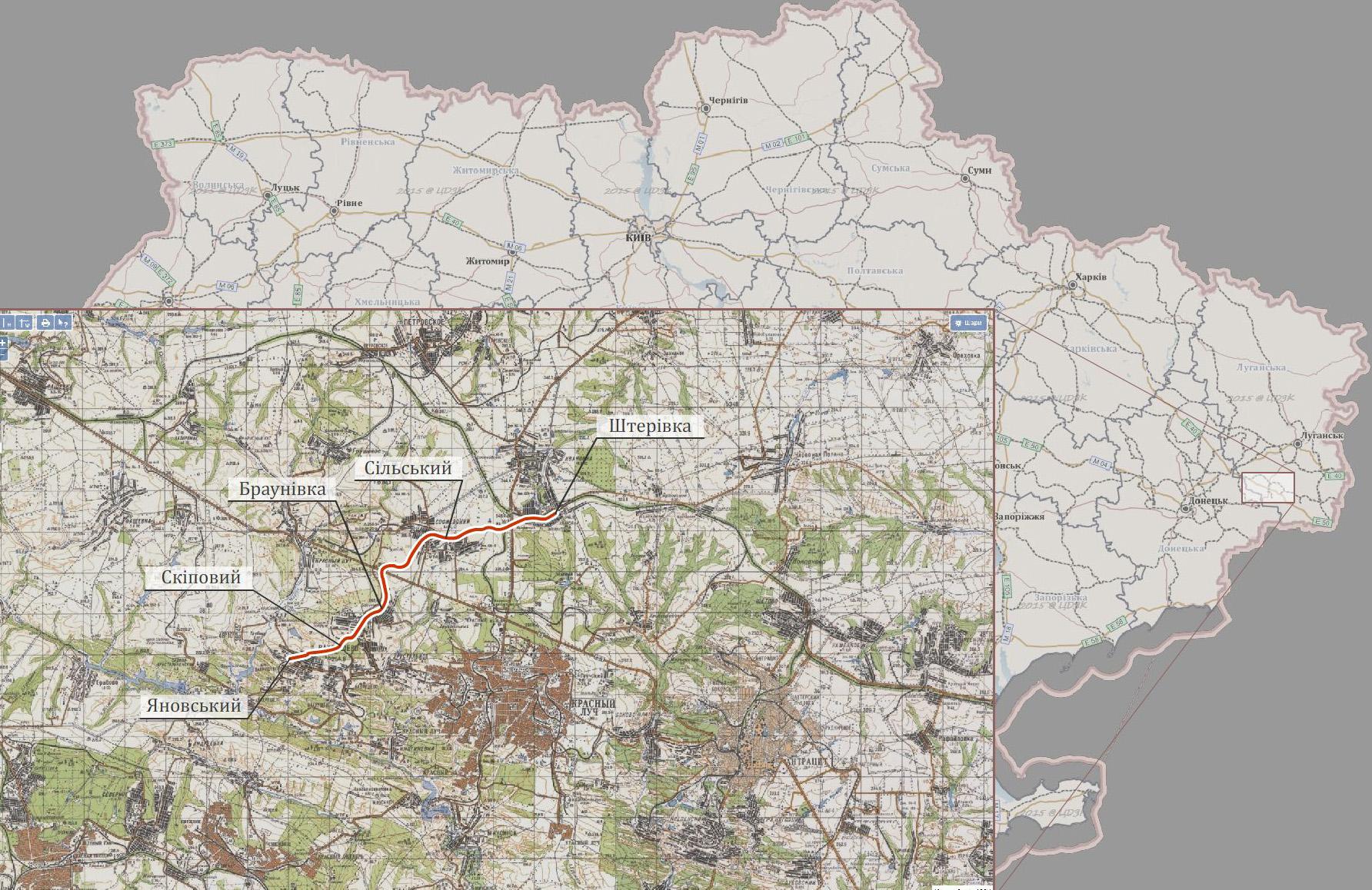 Схема лінії Штерівка - Яновський. Луганська область